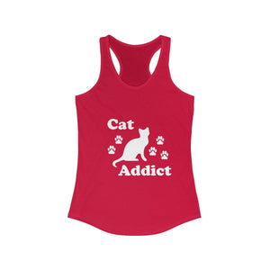 Women's Racerback Tank: Cat Addict Tank Top Printify Solid Red XS