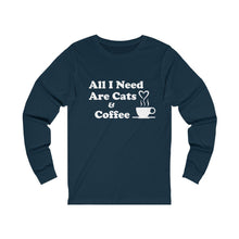 Load image into Gallery viewer, Long Sleeve T-Shirt: All I Need Are Cats & Coffee Long-sleeve Printify Navy S
