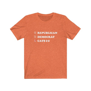 T-Shirt: Republican Democrat Cats T-Shirt Printify Heather Orange S
