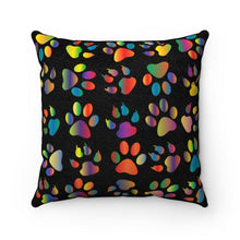 "Load image into Gallery viewer, Faux Suede Square Pillow: Kitty Paws Black Home Decor Printify 14"" x 14"""
