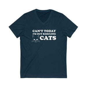 V-Neck T-Shirt: Can't Today I'm Out Rescuing Cats V-neck Printify Navy XS