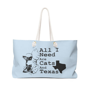 Weekender Bag: All I Need Are Cats And Texas (Multiple Colors) Bags Printify Light Blue