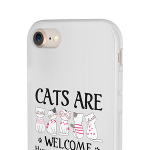 Flexi iPhone & Galaxy Phone Cases: Cats Are Welcome Humans Are Tolerated Phone Case Printify