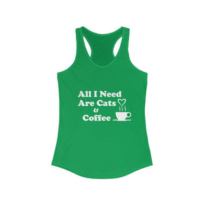 Women's Racerback Tank: All I Need Are Cats & Coffee Tank Top Printify Solid Kelly Green XS