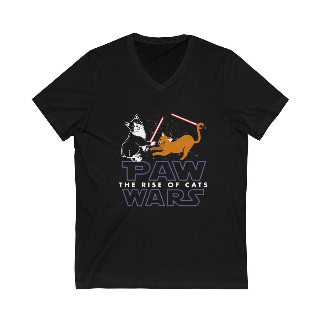 V-Neck T-Shirt: Paw Wars Rise Of The Cats V-neck Printify Black L