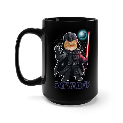 Black Coffee Mug 15oz: Cat Vader Mug Printify 15oz