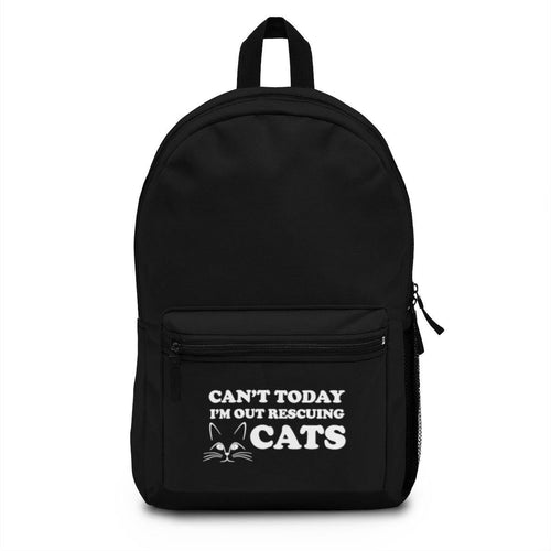 Backpack (Made in USA) - Can't Today I'm Out Rescuing Cats Bags Printify One Size