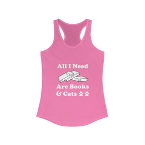 Women's Racerback Tank: All I Need Are Books & Cats Tank Top Printify Solid Hot Pink XS
