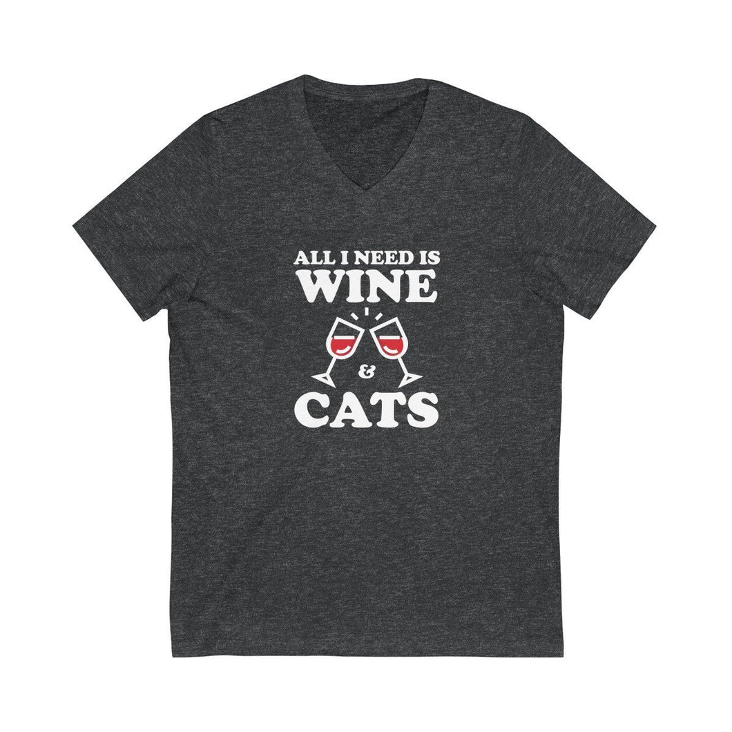 V-Neck T-Shirt: All I Need Is Wine & Cats V-neck Printify Dark Grey Heather L