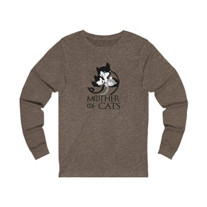 Long Sleeve T-Shirt: Mother Of Cats Long-sleeve Printify Heather Brown S