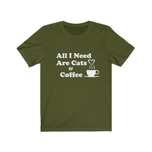 T-Shirt: All I Need Are Cats & Coffee T-Shirt Printify Olive XS