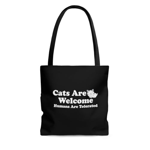 Reusable Tote Bag: Cats Are Welcome Humans Are Tolerated Bags Printify Large