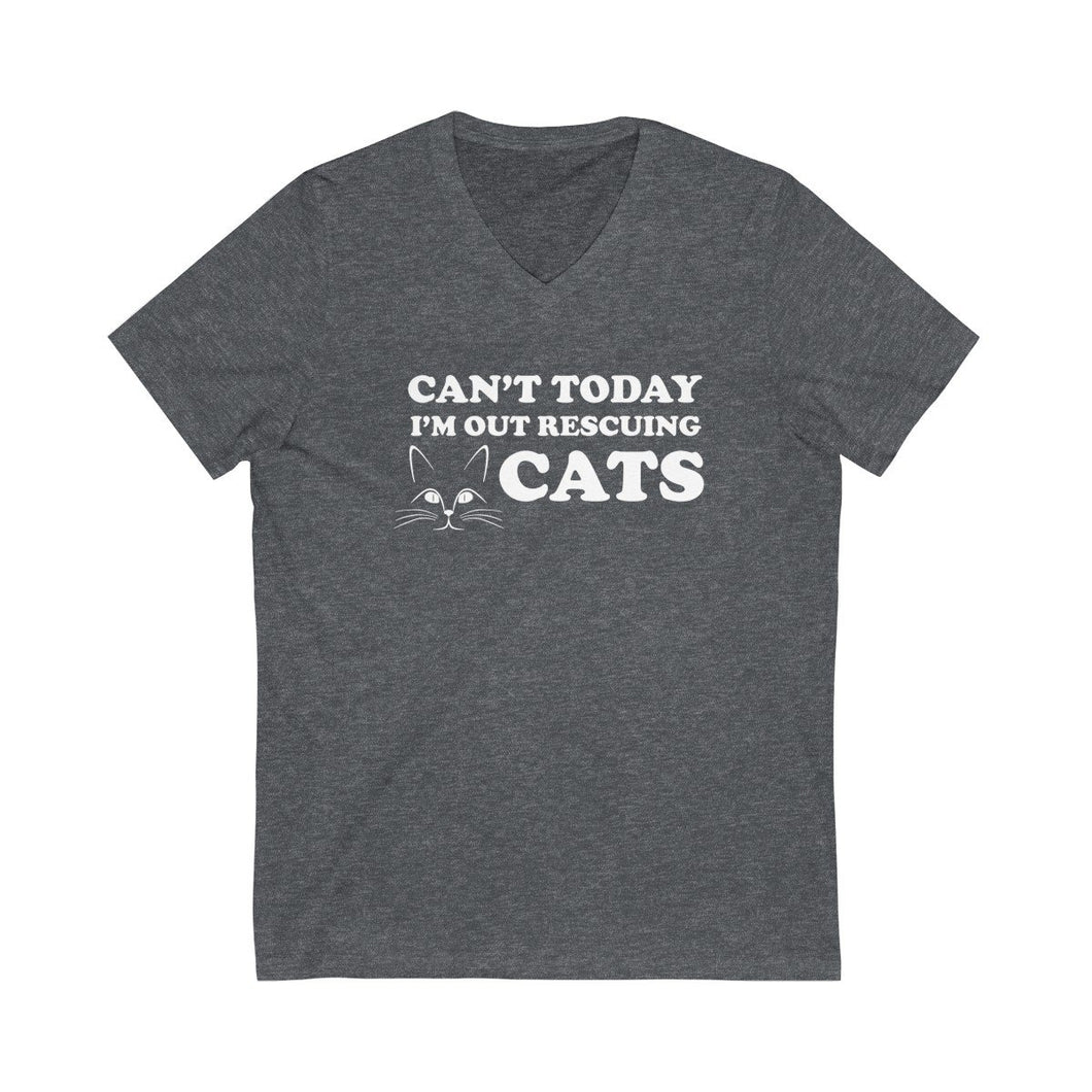 V-Neck T-Shirt: Can't Today I'm Out Rescuing Cats V-neck Printify Dark Grey Heather L