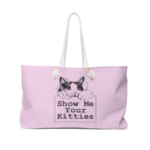 Weekender Bag: Show Me Your Kitties (Multiple Colors) Bags Printify Pink
