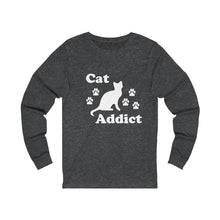 Load image into Gallery viewer, Long Sleeve T-Shirt: Cat Addict Long-sleeve Printify Dark Grey Heather S