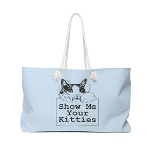 Weekender Bag: Show Me Your Kitties (Multiple Colors) Bags Printify Light Blue