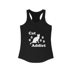 Women's Racerback Tank: Cat Addict Tank Top Printify Solid Black XS