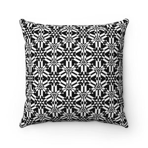 Black and White Abstract Pattern Faux Suede Square Pillow Home Decor Printify