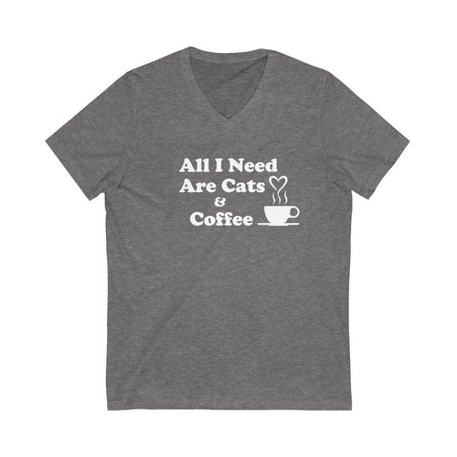 V-Neck T-Shirt: All I Need Are Cats & Coffee V-neck Printify Deep Heather XS