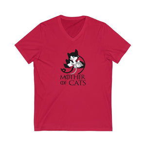 V-Neck T-Shirt: Mother Of Cats V-neck Printify Red XS