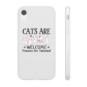 Flexi iPhone & Galaxy Phone Cases: Cats Are Welcome Humans Are Tolerated Phone Case Printify iPhone XR