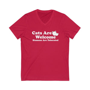 V-Neck T-Shirt: Cat Are Welcome Humans Are Tolerated V-neck Printify Red XS