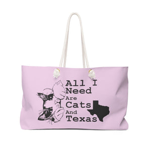 Weekender Bag: All I Need Are Cats And Texas (Multiple Colors) Bags Printify Pink