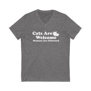 V-Neck T-Shirt: Cat Are Welcome Humans Are Tolerated V-neck Printify Deep Heather XS