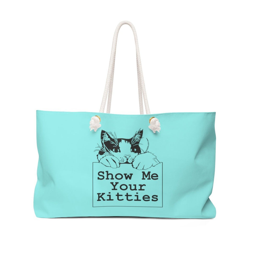 Weekender Bag: Show Me Your Kitties (Multiple Colors) Bags Printify Aqua