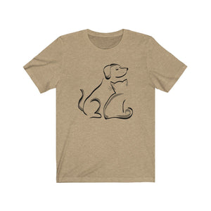 T-Shirt: Cat and Dog T-Shirt Printify Heather Tan XS