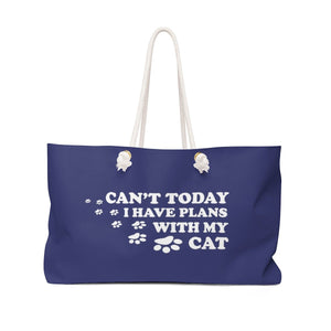 Weekender: Can't Today I Have Plans With My Cat Bags Printify 24x13