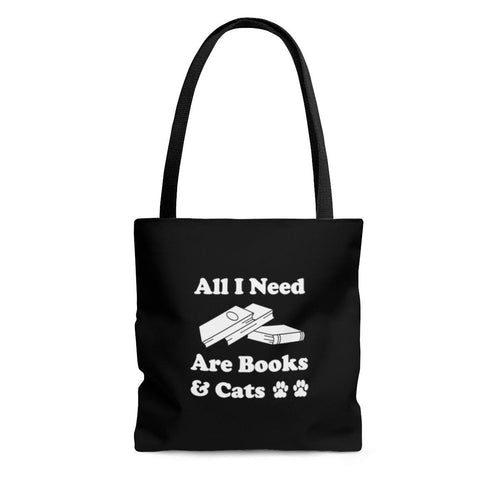 Reusable Tote Bag: All I Need Are Books & Cats Bags Printify Large