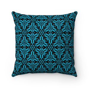 Blue Abstract Pattern Faux Suede Square Pillow Home Decor Printify
