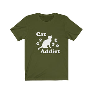 T-Shirt: Cat Addict T-Shirt Printify Olive XS