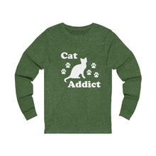 Load image into Gallery viewer, Long Sleeve T-Shirt: Cat Addict Long-sleeve Printify Heather Forest S