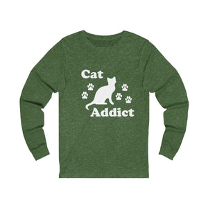 Long Sleeve T-Shirt: Cat Addict Long-sleeve Printify Heather Forest S