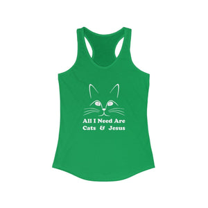 Women's Racerback Tank: All I Need Are Cats & Jesus Tank Top Printify Solid Kelly Green XS