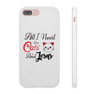 Flexi iPhone & Galaxy Phone Cases: All I Need Are Cats & Jesus Phone Case Printify iPhone 7 Plus