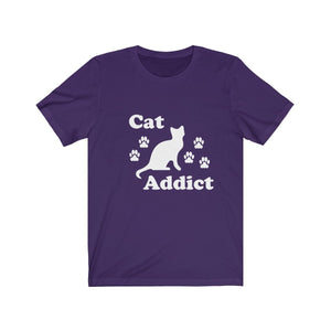 T-Shirt: Cat Addict T-Shirt Printify Team Purple XS