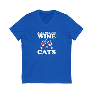 V-Neck T-Shirt: All I Need Is Wine & Cats V-neck Printify True Royal XS