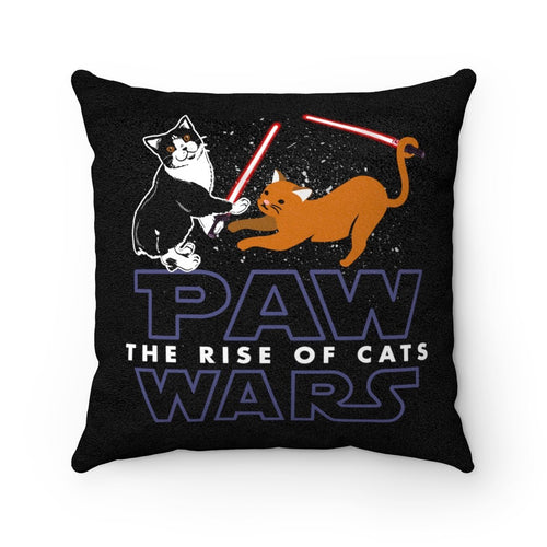 Faux Suede Square Pillow: Paw Wars Rise Of Cats Home Decor Printify 14