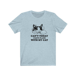T-Shirt: Can't Today I Have Plans With My Cat T-Shirt Printify Heather Ice Blue XS
