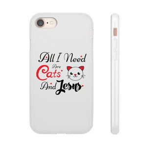 Flexi iPhone & Galaxy Phone Cases: All I Need Are Cats & Jesus Phone Case Printify iPhone 8