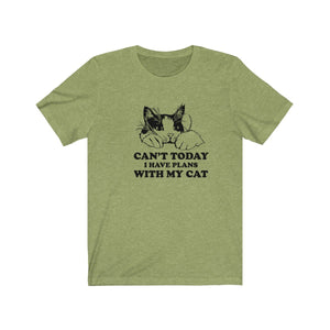 T-Shirt: Can't Today I Have Plans With My Cat T-Shirt Printify Heather Green XS