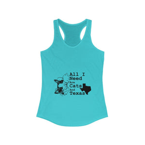 Women's Racerback Tank: All I Need Are Cats And Texas Tank Top Printify Solid Tahiti Blue XS