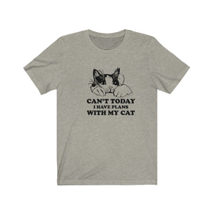 T-Shirt: Can't Today I Have Plans With My Cat T-Shirt Printify Heather Stone XS