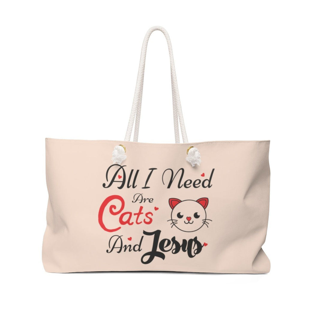 Weekender Bag: All I Need Are Cats And Jesus Bags Printify 24x13