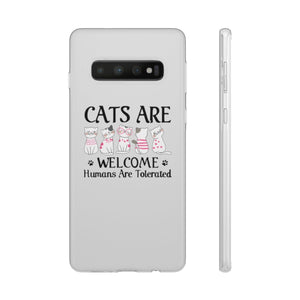 Flexi iPhone & Galaxy Phone Cases: Cats Are Welcome Humans Are Tolerated Phone Case Printify Samsung Galaxy S10