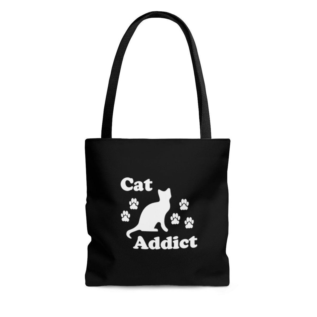 Reusable Tote Bag: Cat Addict Bags Printify Large