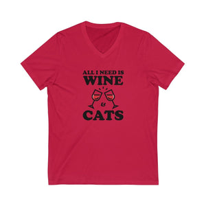 V-Neck T-Shirt: All I Need Is Wine & Cats V-neck Printify Red XS